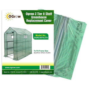 oGrow 2 Tier 8 Shelf Greenhouse Pe Replacement Cover - To Fit Frame Size 49 2W X 74D X 74 8H - Greenhouses & Accessories