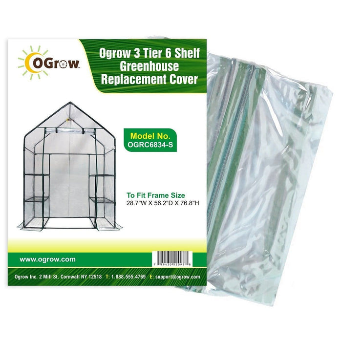 oGrow 3 Tier 6 Shelf Greenhouse Replacement Cover - To Fit Frame Size 28 7W X 56 2D X 76 8H - Greenhouses & Accessories