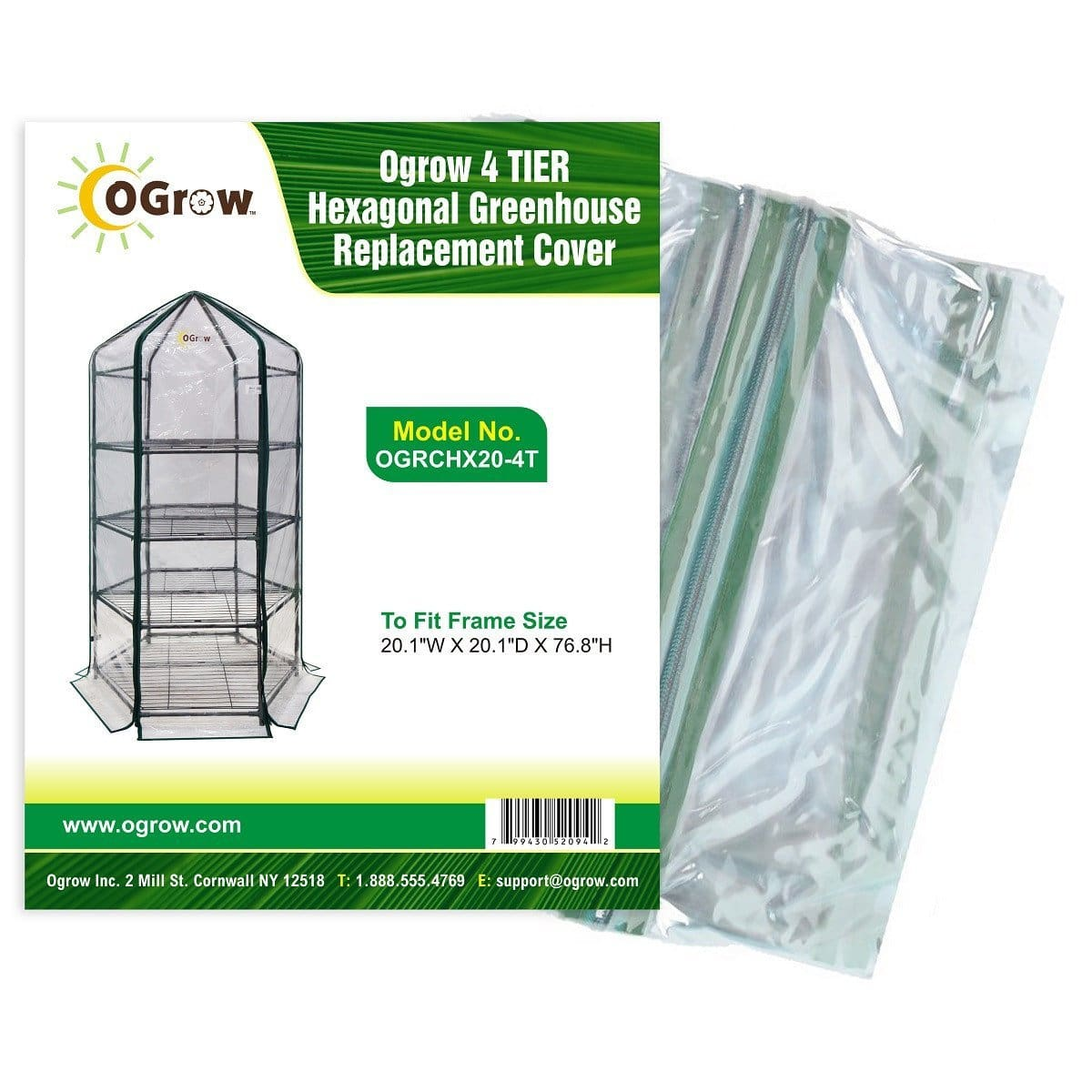 oGrow 4 Tier Hexagonal Greenhouse Replacement Cover - To Fit Frame Size 20 1W X 20 1D X 76 8H - Greenhouses & Accessories