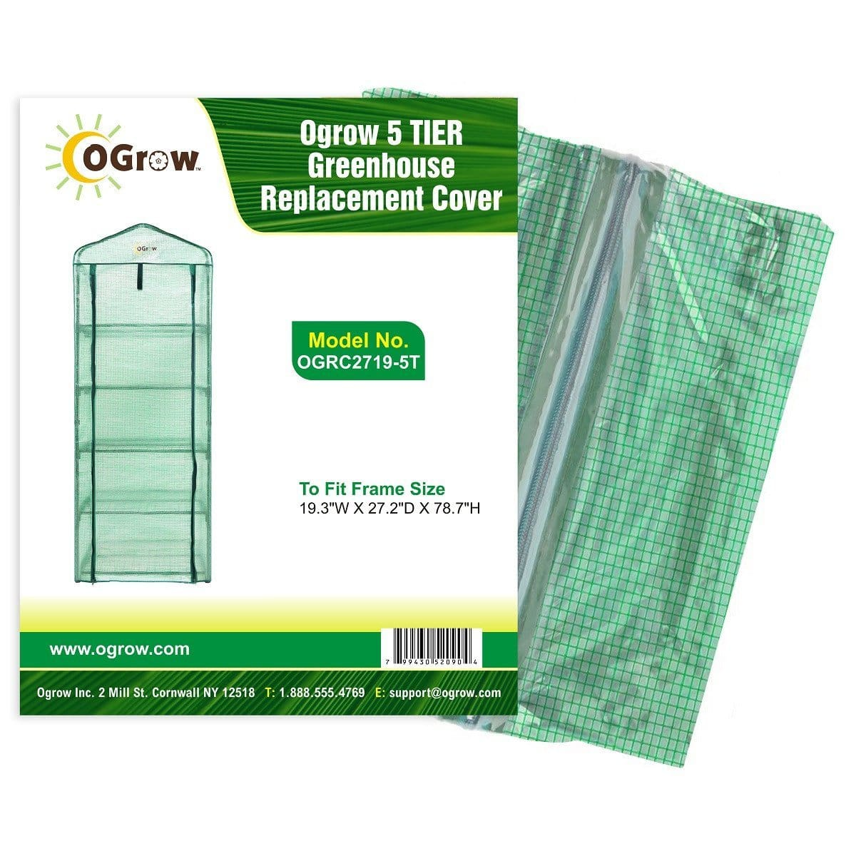 oGrow 5 Tier Greenhouse Pe Replacement Cover - To Fit Frame Size 19 3W X 27 2D X 78 7H - Greenhouses & Accessories