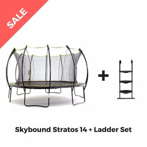 Round Trampoline SkyBound Stratos 14 ft Top Ring Enclosure - SB-T14STR02 - Add Ladder - Round Trampolines