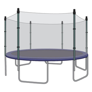 SkyBound 14Ft Trampoline Replacement Net For Trampolines With 6 Straight Poles And Pole Caps - Trampoline Replacements