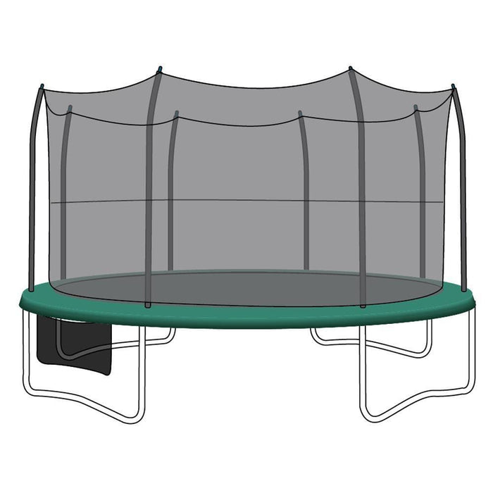 SkyBound 15Ft Trampoline Replacement Net Fits 15 Ft Skywalker Trampolines With 8 Straight-Curved Poles - Trampoline Replacements