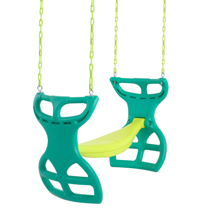 Swingan - Two Seater Glider Swing - Green - Yellow - Swgsc-Gy - Swings & Accessories