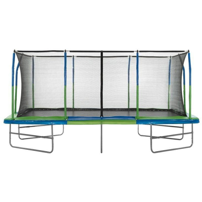 Upper Bounce Mega 10 x 17 Green& Blue Rectangle Trampoline incl. Enclosure - UB03EC-1017E - Rectangle Trampolines