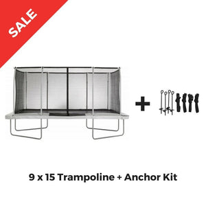 Upper Bounce Rectangle Trampoline 9 x 15 Mega White incl. Enclosure - UB03EC-915E - Rectangle Trampolines