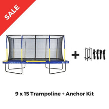 Upper Bounce Rectangle Trampoline 9 x 15 Mega with Enclosure System - Rectangle Trampolines