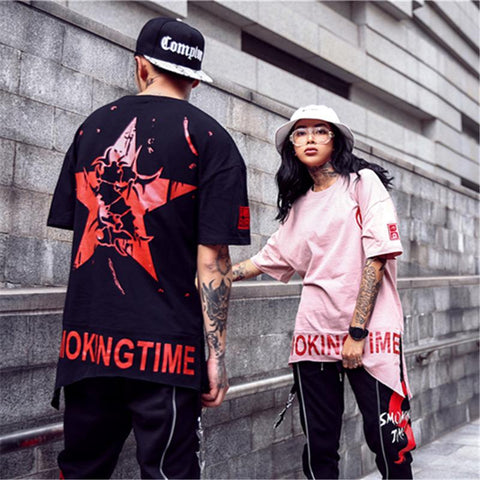 1)BFY HIP-HOP PENTAGRAM T-SHIRT  The most popular couple Tee 4f4f014cc5