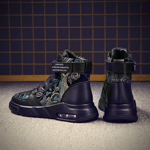 ORIGINAL TRADITIONAL EMBROIDERY COW LEATHER Black SNEAKERS