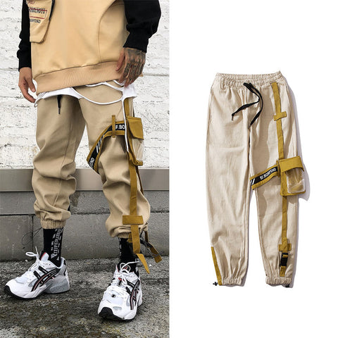 2019 Hot street fashion Yellow pocket pants