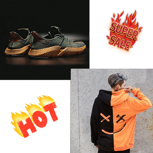 Deals| Street fashion Popcorn sneakers with orange smile hoodies