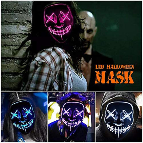 Halloween Led Light Up Mask, Purge Mask, Scary EL Wire Light up Mask Cosplay Led Costume Mask for Halloween, Festival, Party