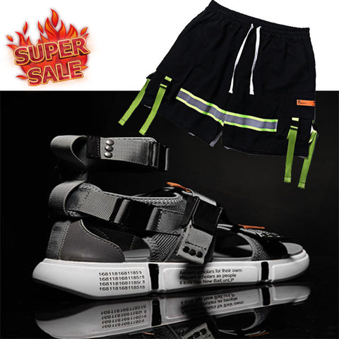 2019 Summer hot sandals shoes with FGSS HOT TAPE Balck PANTS