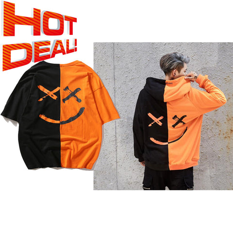 Smile hoodie with smile T-shirt (Orange)