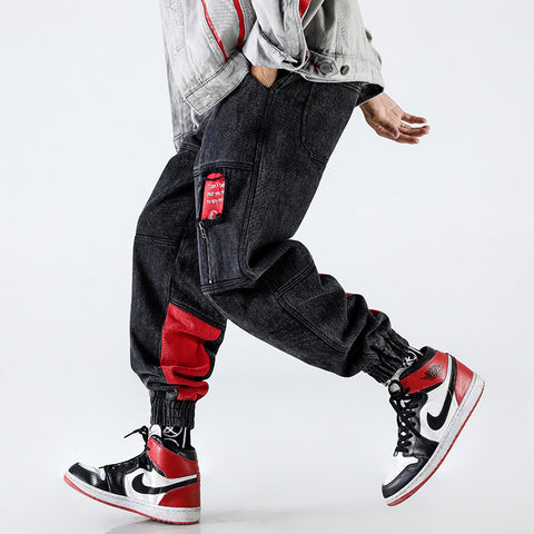 N3 street fashion red tips pants
