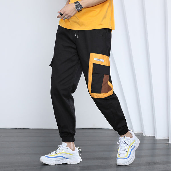 Street fashion pocket camo/black pants
