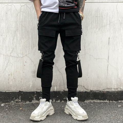 Chic black pocket tape pants
