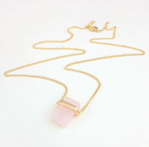 Square Natural Crystal Stone Pendant and 18K Gold Plated Necklace