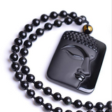 Natural Obsidian Stone Buddha Pendant w/ Necklace