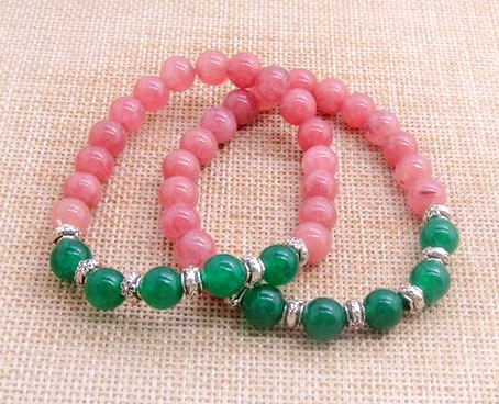 Set of 2 Pink and Green Natural Jade Stone Bracelets