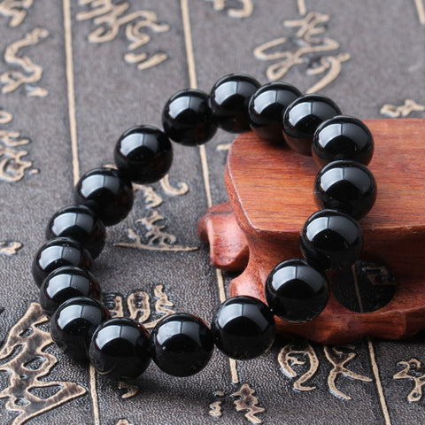 Natural Black Agate Buddhist Mala