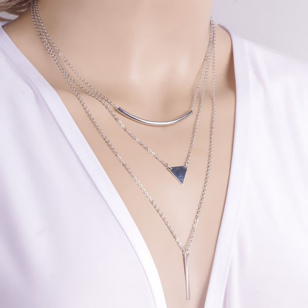 Multi Layer Geometric Necklace