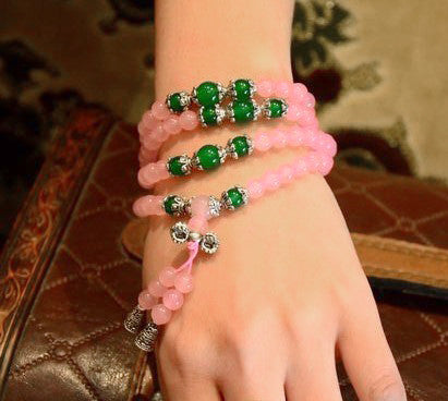 108 Bead Natural Rose and Green Agate Prayer Beads