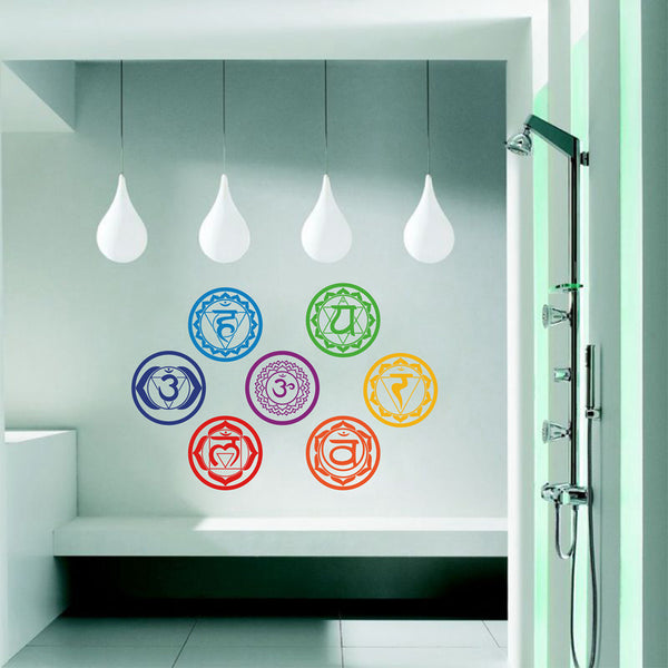 7 Chakras Vinyl Stickers set  (7 pieces)- Meditation Yoga Om Meditation Symbol