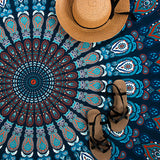 Round Indian Mandala Tapestry