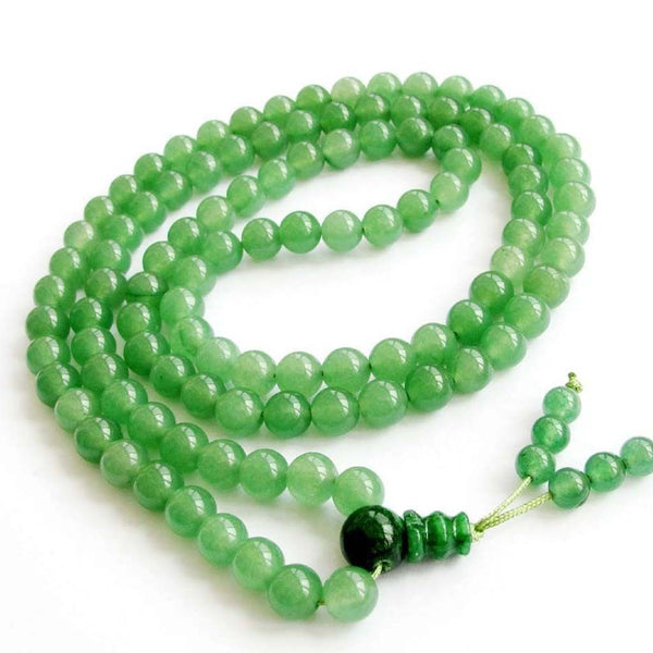 Natural Stone Buddhist Prayer Beads Necklace - Green Jade