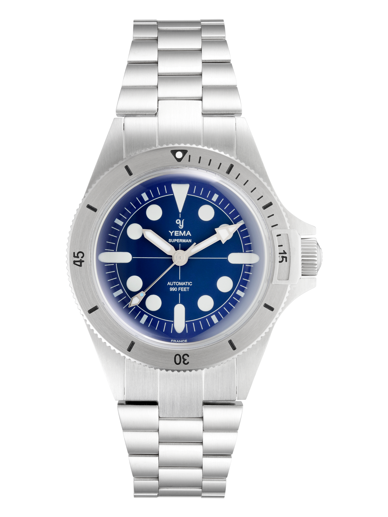 YEMA SUPERMAN MAXI DIAL BLUE, cadra double ton bleu, indexs surdimensionnés blancs.