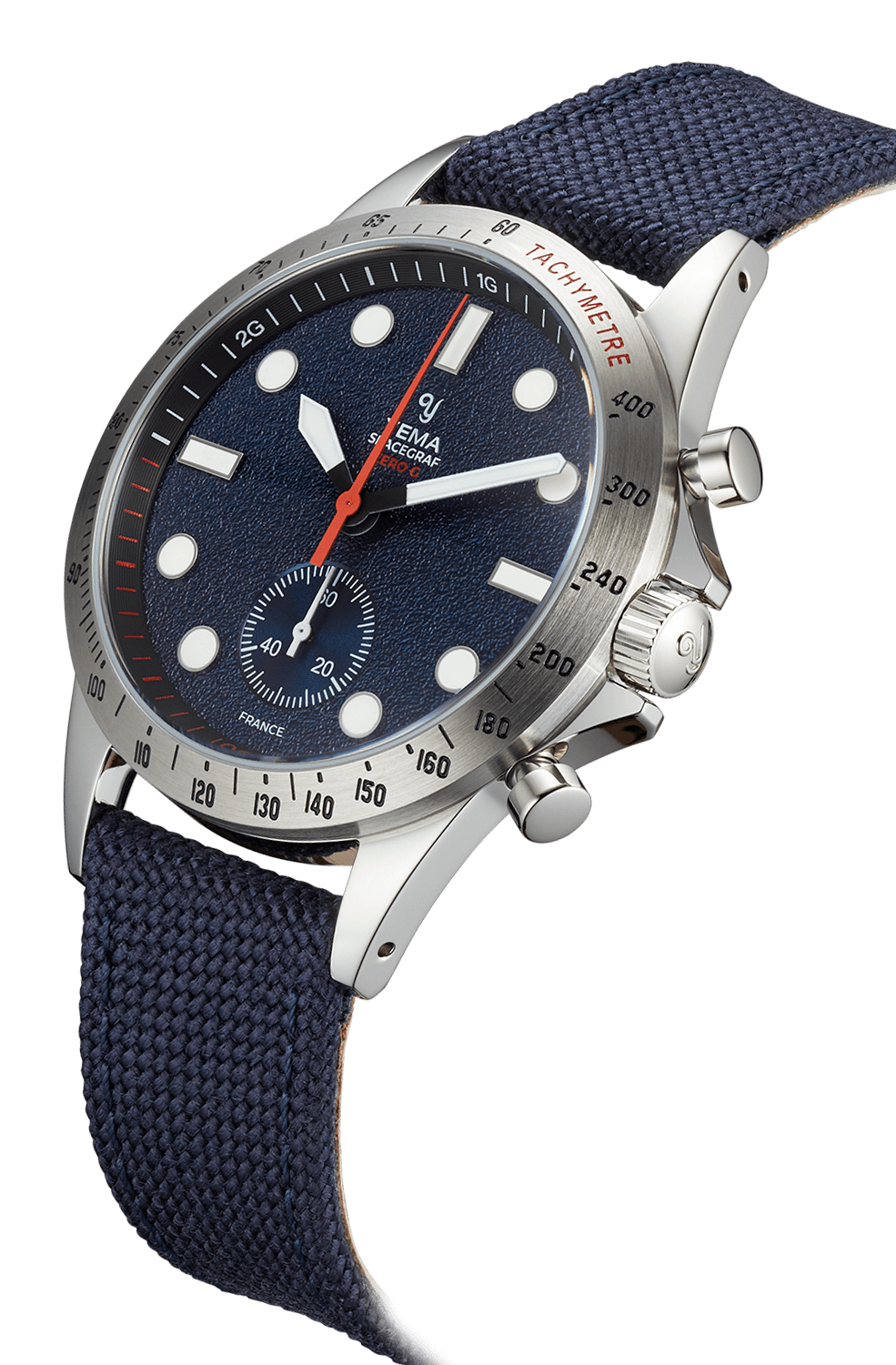 Montre YEMA Spacegraf Zero G Steel Blue. Index blancs, bracelet tissu bleu marine.