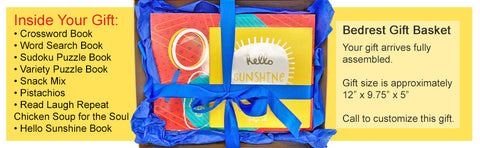 Bedrest Get Well Gift Basket with Puzzle Books and Snacks