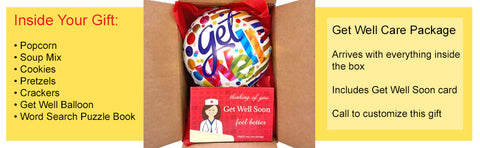 Get well care package with word search puzzle book, balloon and snacks