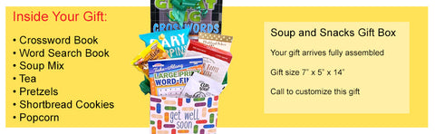 soup and snacks get well gift basket for men and women with puzzle books
