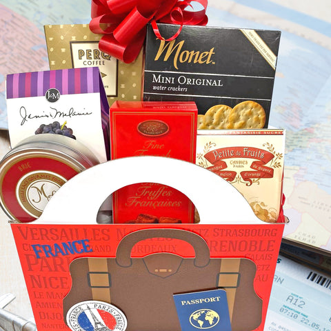 Gift Basket Flavors of France Gourmet Gift Basket with Chocolate, Brie, Crackers, Jam, Snacks Inspired by French Flavors
