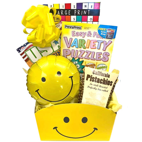 Thinking of You Cheerful Gift Basket with Puzzle Books for Men, for Women, for Teens