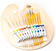 Daveliou™ traditional hand-finished lightweight wood palette is designed for balance and comfort, perfect for extended painting sessions in acrylic paint or oils reduce hand-strain or fatigue, and come complete with a comprehensive set of 12 Paint Brushes and 12 Acrylic Paints- an ideal gift …