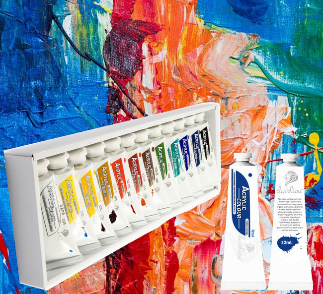 Daveliou™ Acrylic art set offers a versatile assortment of 32ml paint tubes hold 1.08 FL oz of non-toxic paint offering a color palette comprising 12 beautiful shades to work with. The premium acrylic emulsion consistency enables fast inherent drying allowing outstanding body and gloss control characteristics that are brushable retaining peaks and ridges when applied in thick applications.