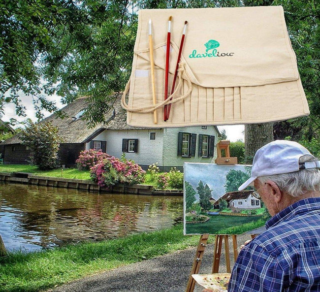 "Daveliou's foldable Art Supply Holder allows you the freedom to paint ""en plein air,"" which is the French expression for ""in the open air."" Leave the four walls of your room or studio, and paint in your local landscape."