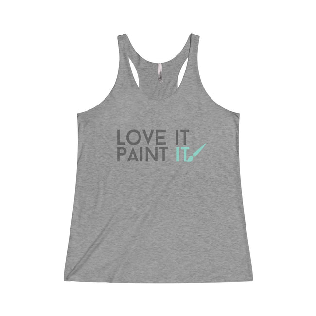 """LOVE IT"" Tri-Blend Raceback Tank"