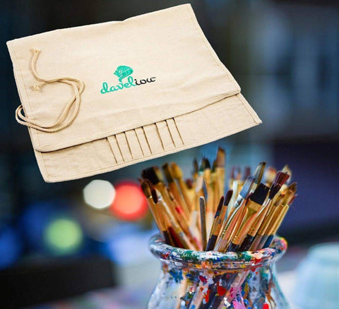 Daveliou™ handmade roll-up canvas Brush Organizer when opened out fully or rolled-up and can be secured by flap ties to keep them organized and protected from damage during transportation