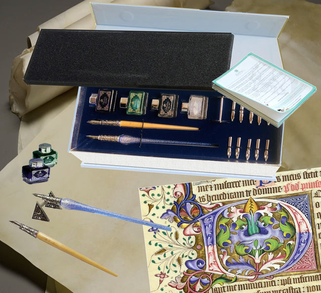 Daveliou calligraphy set which has specialist calligraphy nibs pen and ink