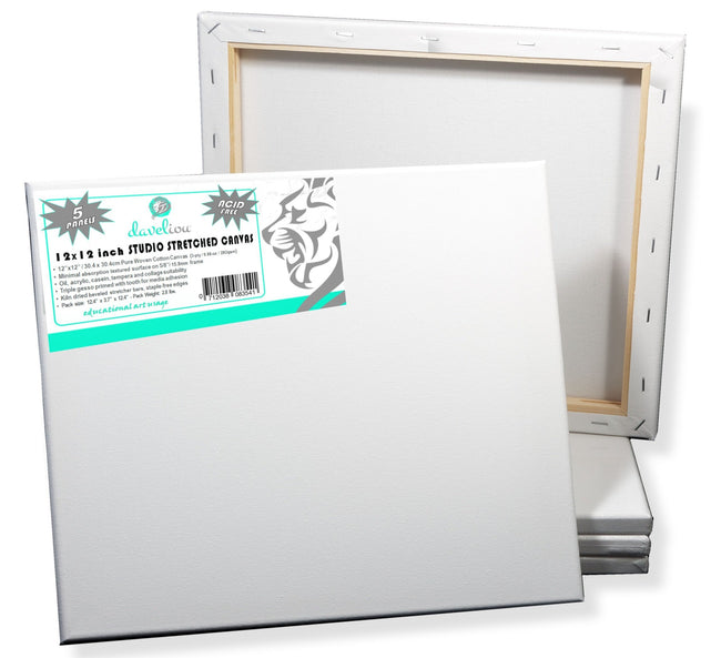 Daveliou™ Stretched Canvas Frames 12x12 inches allow you to unleash your creativity onto a pre-stretched canvas for painting surface that won't let you down. Shop today and receive a bulk pack of 5 high-quality panels.  Whether you're a beginner or experienced artist, let your imagination run wild with the Daveliou white canvas frame, allowing you to produce works of art with the media of your choice.
