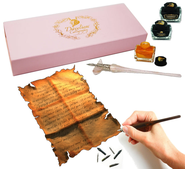 Calligraphy pen kit is ideal as a modern calligraphy set with its range of nibs and colored inks