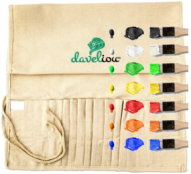 Daveliou™ use only the best materials during the manufacturing process of our paint brush organizer; providing our customers with products that allow for ultimate confidence. This lightweight holder rolls up into a compact shape, ready to be place into your purse or bag and an accessory that's easy to carry, allowing you to paint on the go!