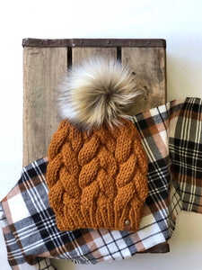 Amber Braided Cable Beanie Tundra Faux Fur Pom