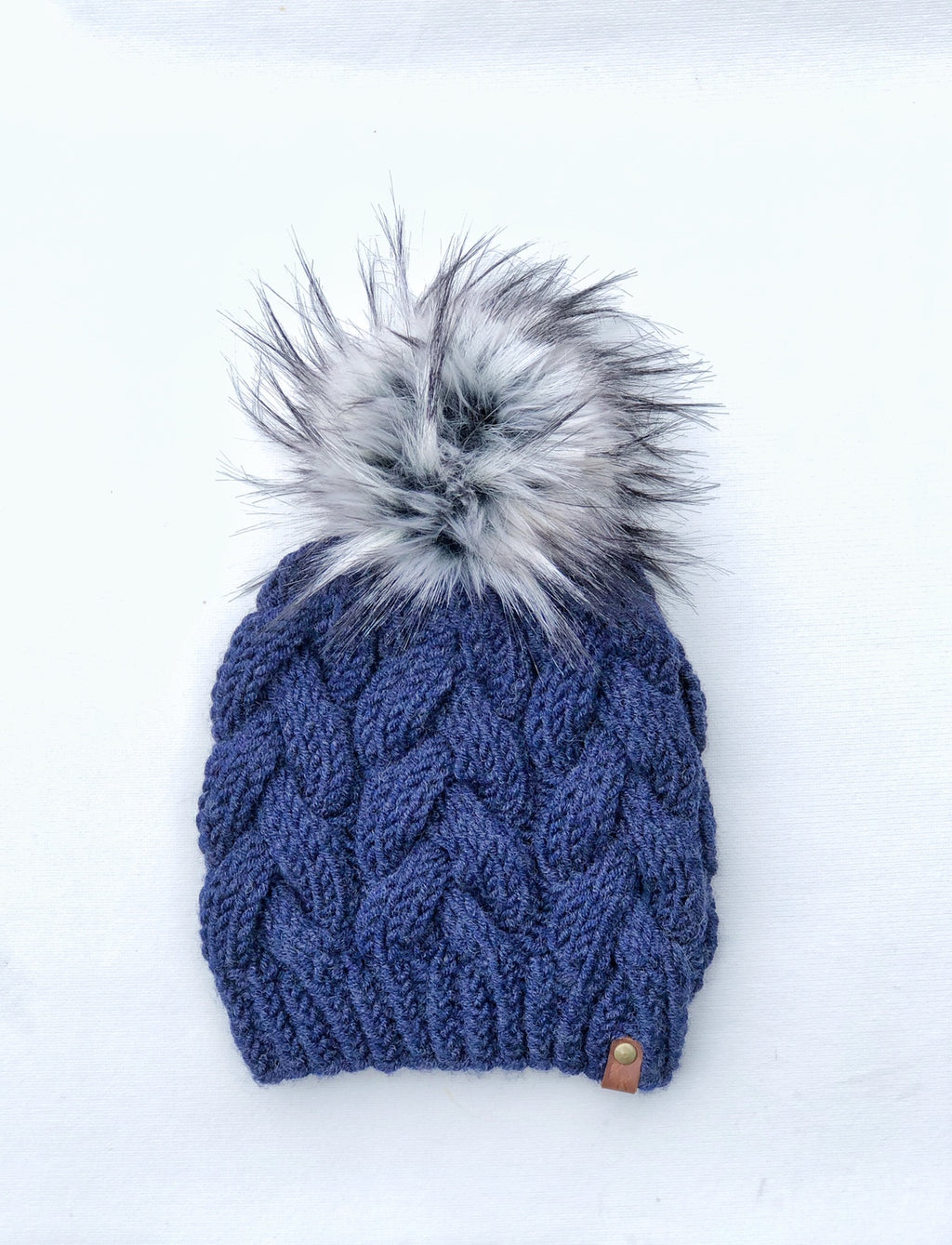Blue Wool Spun Hand Knit Braided Cable Beanie Hat Marble Faux Fur Pom - KitchenKlutter