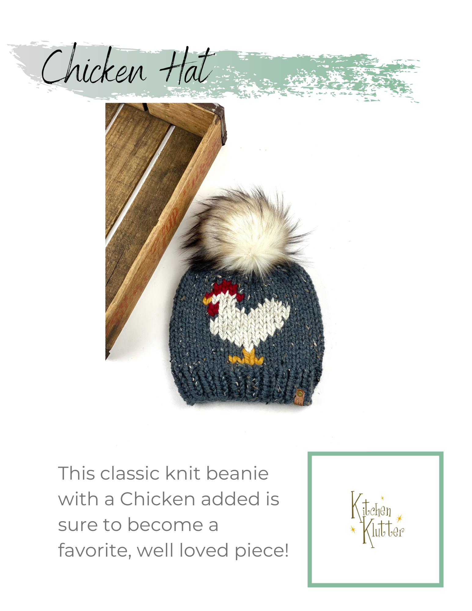 Chicken Hat PATTERN Only Knit Instructions Downloadable PDF File