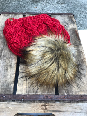 Red Braided Cable Beanie & Faux Fur Pom Pom